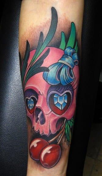 Cool cherry Skull Tattoo by Jon Von Glahn, Olde Town Tattoo