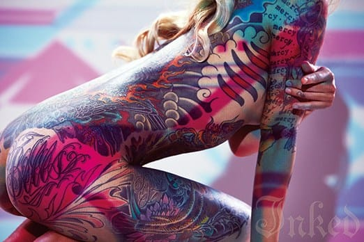 Tattoo Model Ginzilla Bathed In Colors