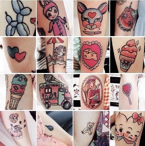 Melanie Martinez's collection of kawaiicore tattoos