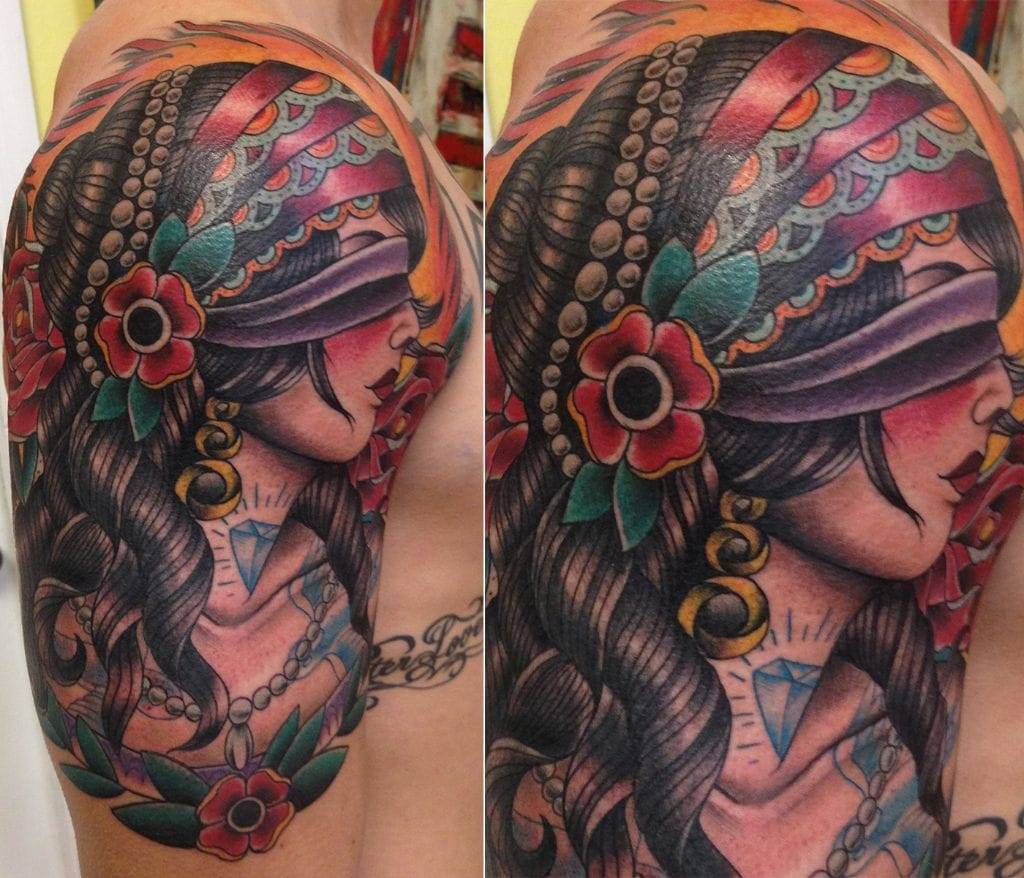 Beautiful blindfolded lady tattoo by Bart Andrews