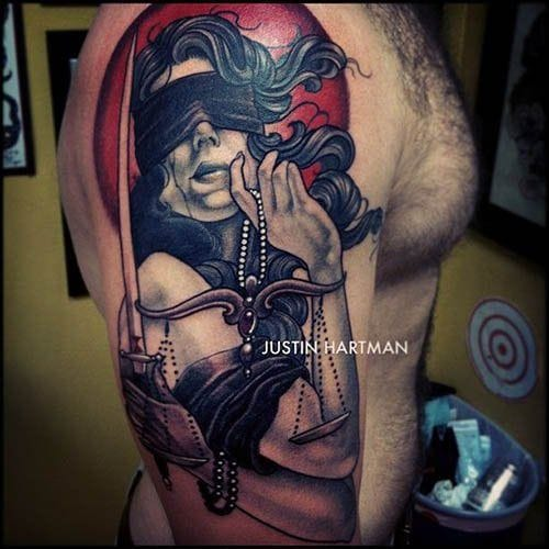 Blindfolded tattoo by Justin Hartman
