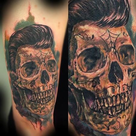 Pompadour skull tattoo by Rahkeeh Shah