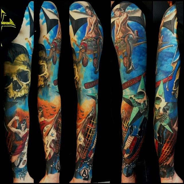 Colorful sleeve by unknown artist. Please let us know if you do!