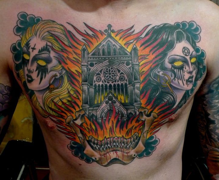 13 Hot And Badass Burning Structure Tattoos