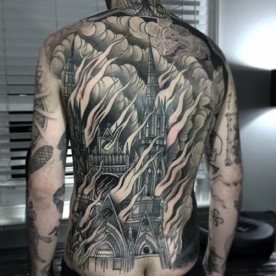 Love the flames and smoke that fill ip the whole back! Artist unknown