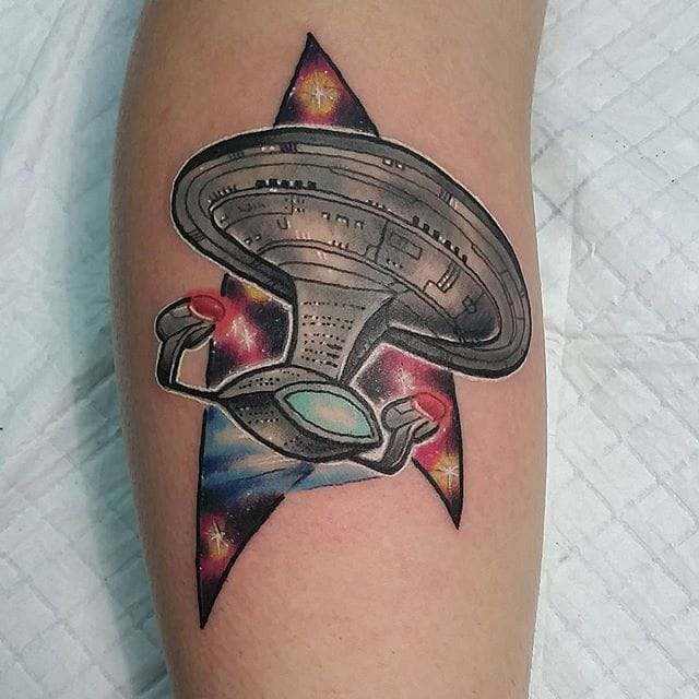 Starship Enterprise Tattoo by Adam Miller