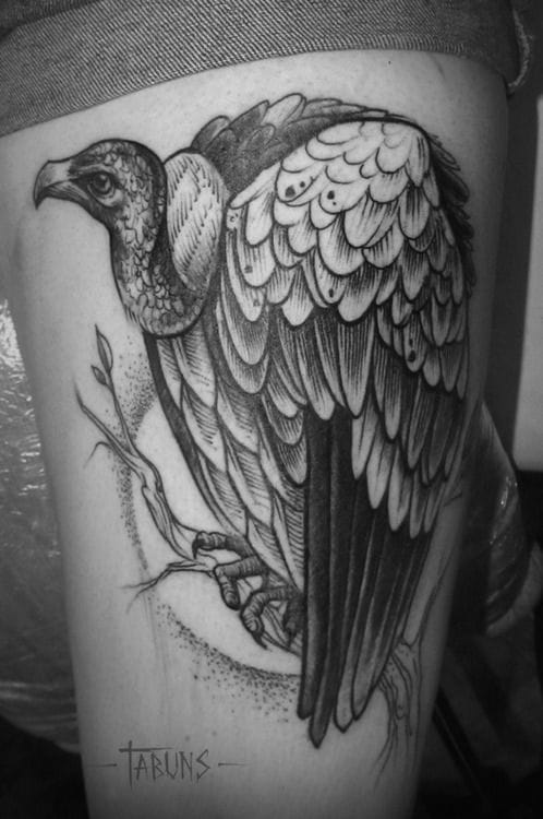 Great vulture tattoo by Alex Tabuns.