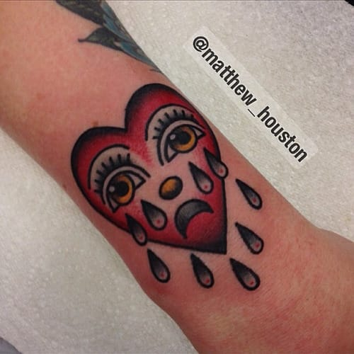 10 Timeless Crying Heart Tattoos