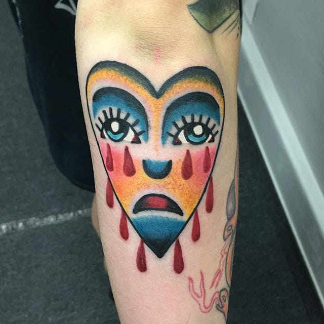 Crying Heart Tattoo by Justin Cochran