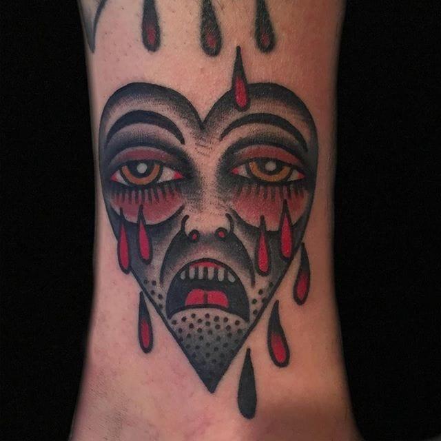 Crying Heart Tattoo by Nate Hudak