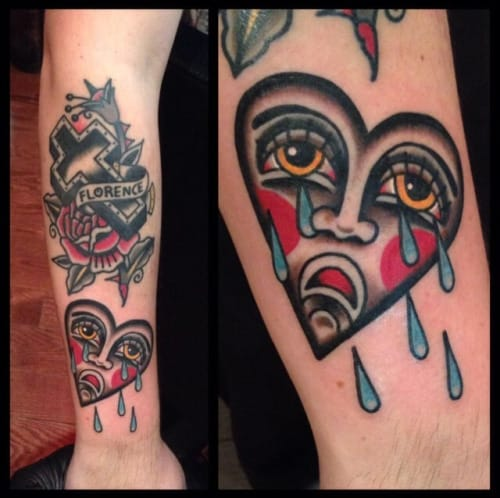 Crying Heart Tattoo by Nick Oaks