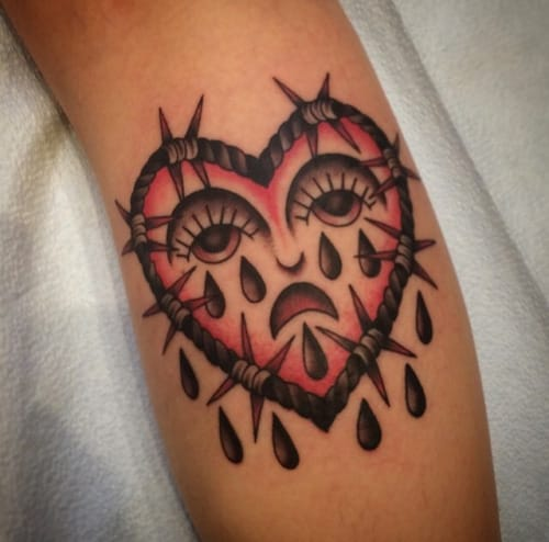 Crying Heart Tattoo by Siobhan Creedon