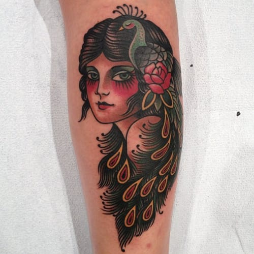 Peacock Girl Tattoo by Paul Dobleman