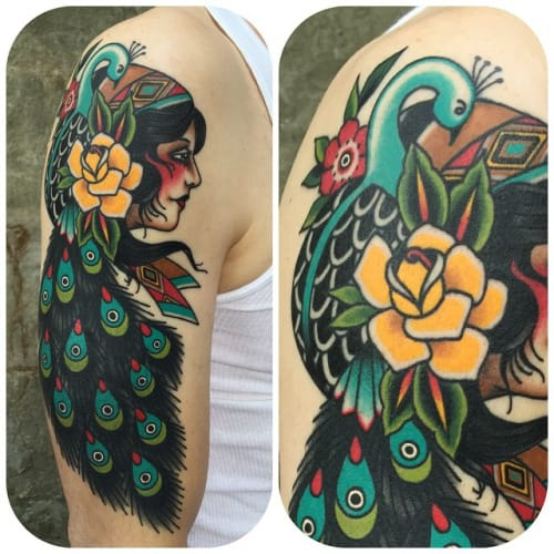 Peacock Tattoo by Becca Genne Bacon