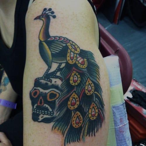 Peacock Skull Tattoo by Stuart Cripwell
