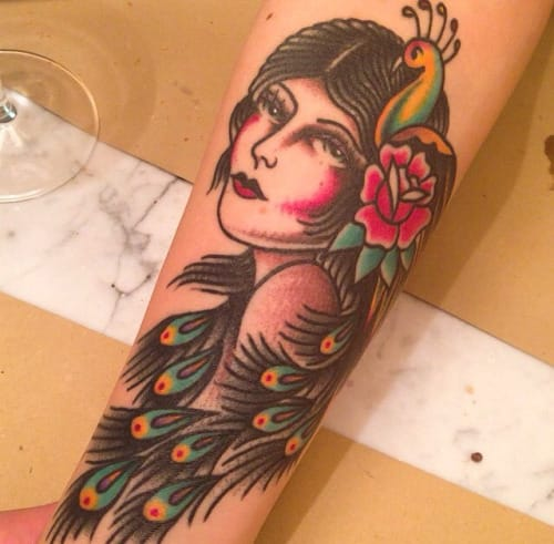 Peacock Woman Tattoo by Paolo Ferarra