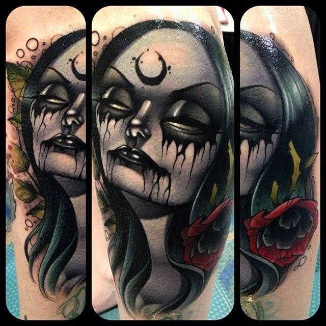 Morticia Addams of The Addams Family tattoo