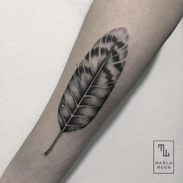Dotwork Feather Tattoo by Marla Moon
