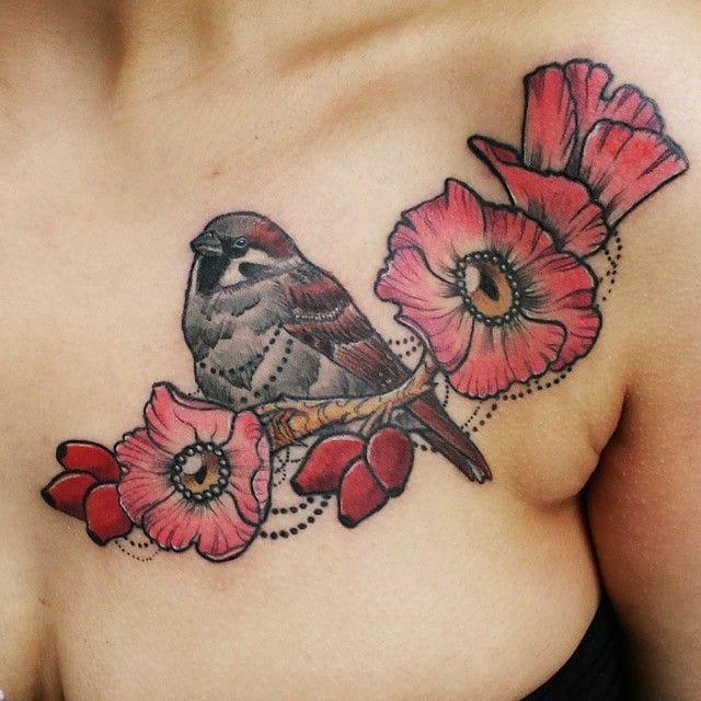 15 Adorable Sparrow Tattoos