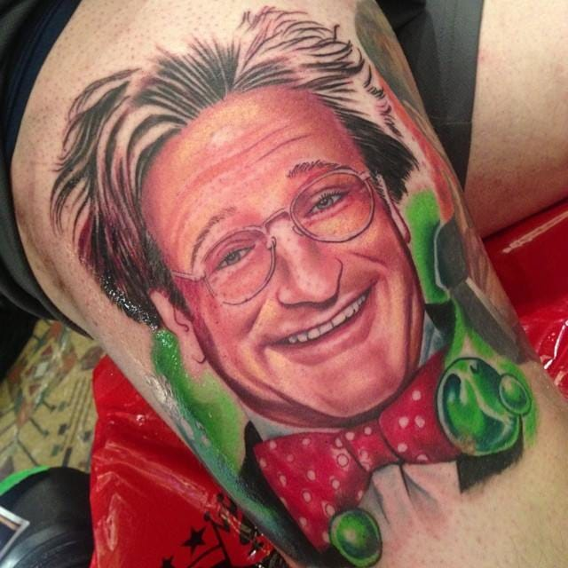 Flubber tattoo in progress by Roman Abrego.