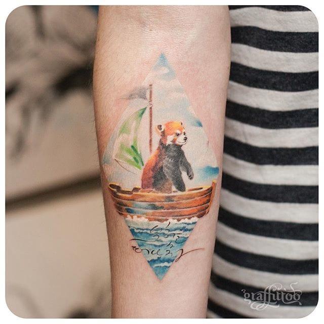 Lovely red panda tattoo #delicate #graffittoo #redpanda #ocean #traivel #animal