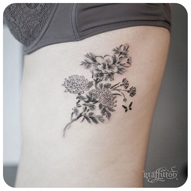 Sumi-e style. Floral tattoo #delicate #graffittoo #floral #flowers #sumie