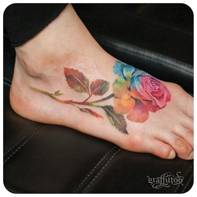 Colorful rose tattoo #delicate #graffittoo #rose