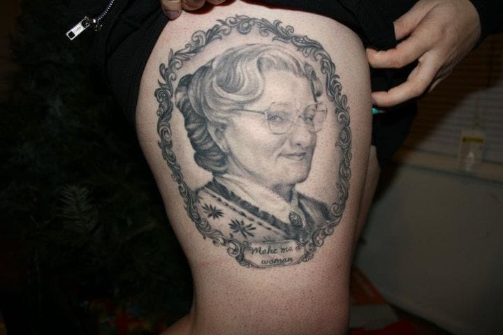 Mrs Doubtfire tattoo by D'Lacie McBride.