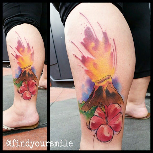 Colorful volcanic tattoo by Russell Van Schaick.