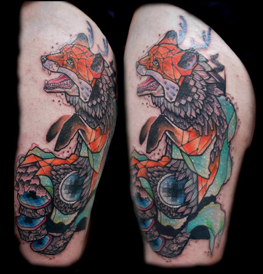 Jubsss' portfolio includes many cool fox tattoos. Tattoo by Jubsss