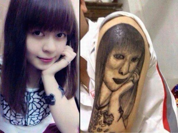 Portrait tattoo, black and white tattoo, artist unknown.