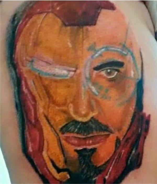 Tony Stark portrait tattoo, artist unknown.