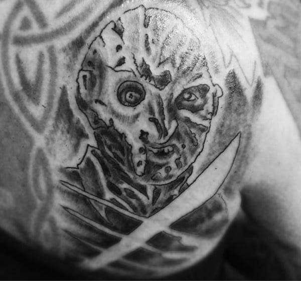 Is this supposed to be Freddy Kruger? Black and white tattoo, artist unknown