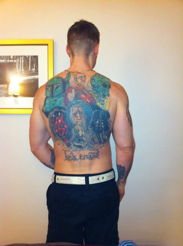 George Lucas would cry! Full back piece, colorful tattoo, artist unknown