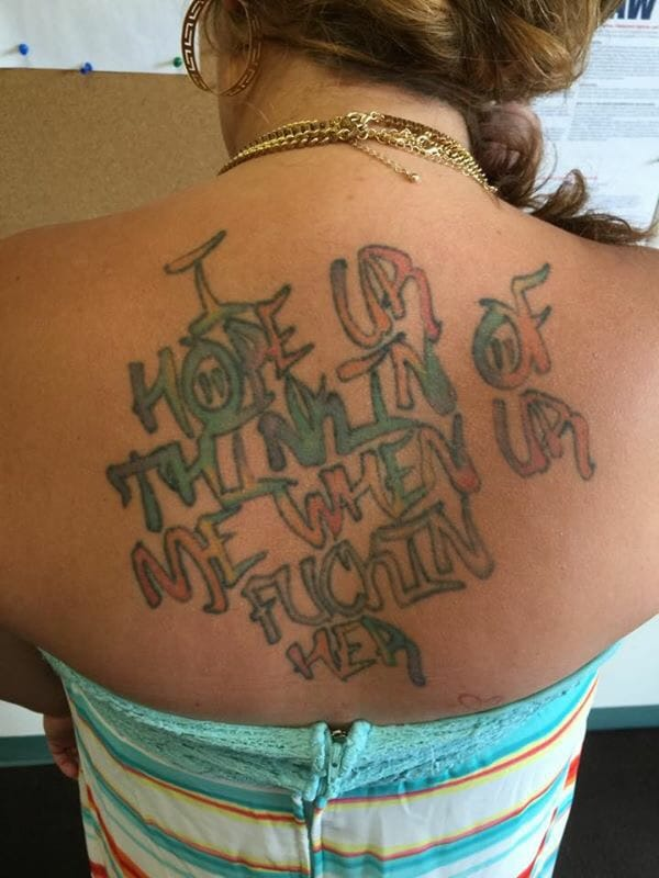 """This is a new level of stupidity! """"I hope you are thinking of me when you are fucking her!""""; """"I hope ur thinkin of me when ur fuckin her"""", lettering tattoo, artist unknown"""