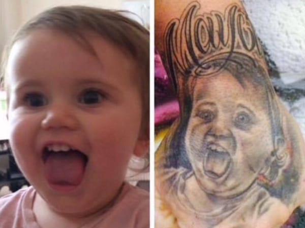 Baby portrait tattoo, artist unknown.