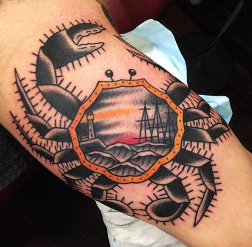 Crab Tattoo by Ben Rorke