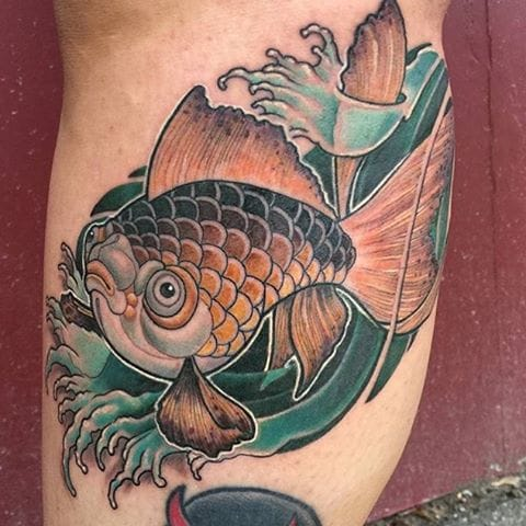 Goldfish Tattoo by Kevin Cayley