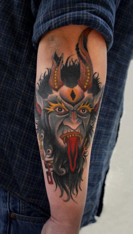 Demon Forearm Tattoo by Herb Auerbach