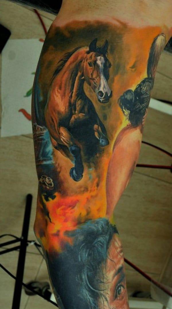 Another one from Dimitriy Samohin. #dimitriysamohin #horsetattoo #horse