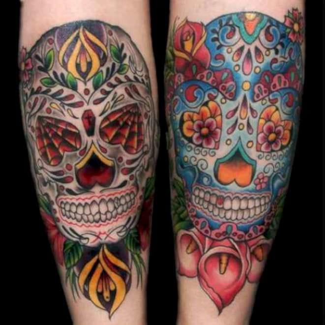 Via skullspiration.com - Artist unknown. #sugarskull #skull #matchingtattoos #pairtattoo #matching #pair