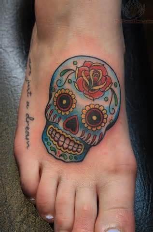 Done by Kori Jones #sugarskull #skull #foottattoo #KoriJones
