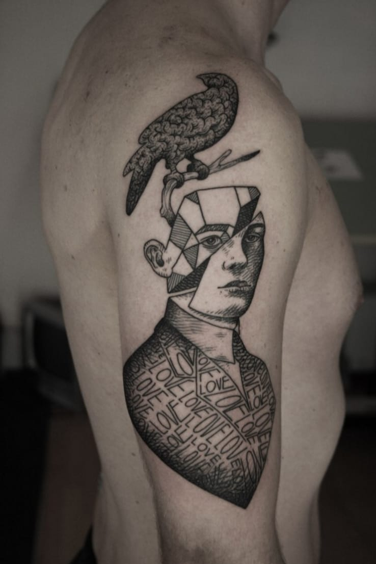 """""""Lost in thought"""", tattoo artist Otto Dambra, source: ottodambra.com"""