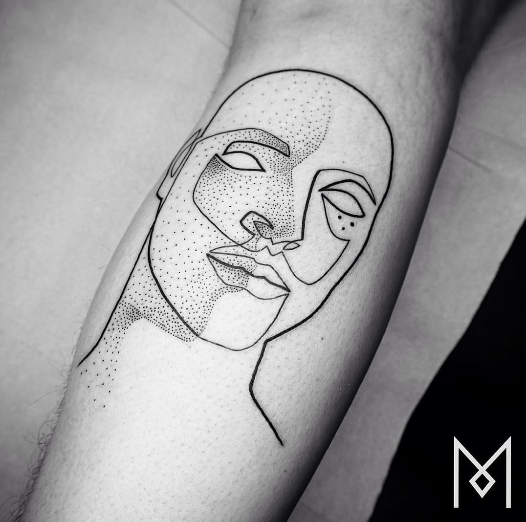 Beautiful linework and dotwork, portrait tattoo by Mo Ganji, source: Instagram / moganji