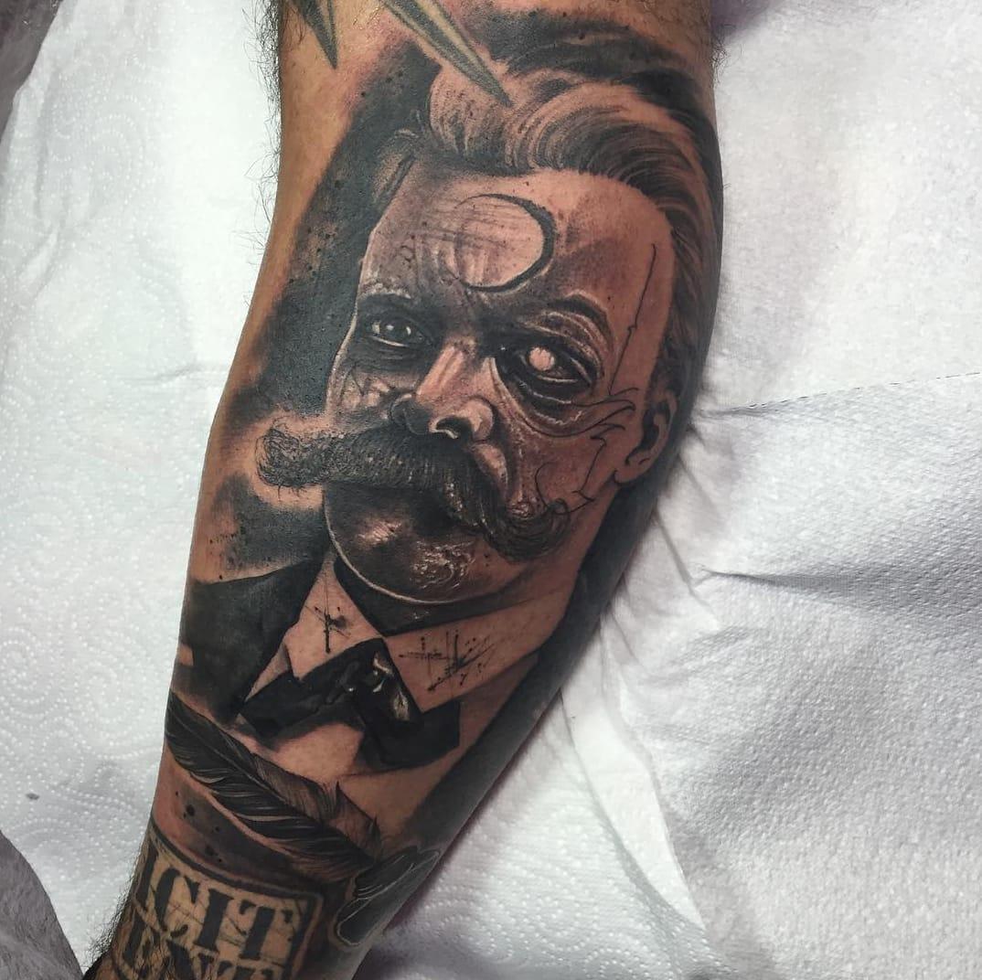 Friedrich Nietzsche portrait tattoo by Anrijs Straume. Source: Instagram / anrijsstraume