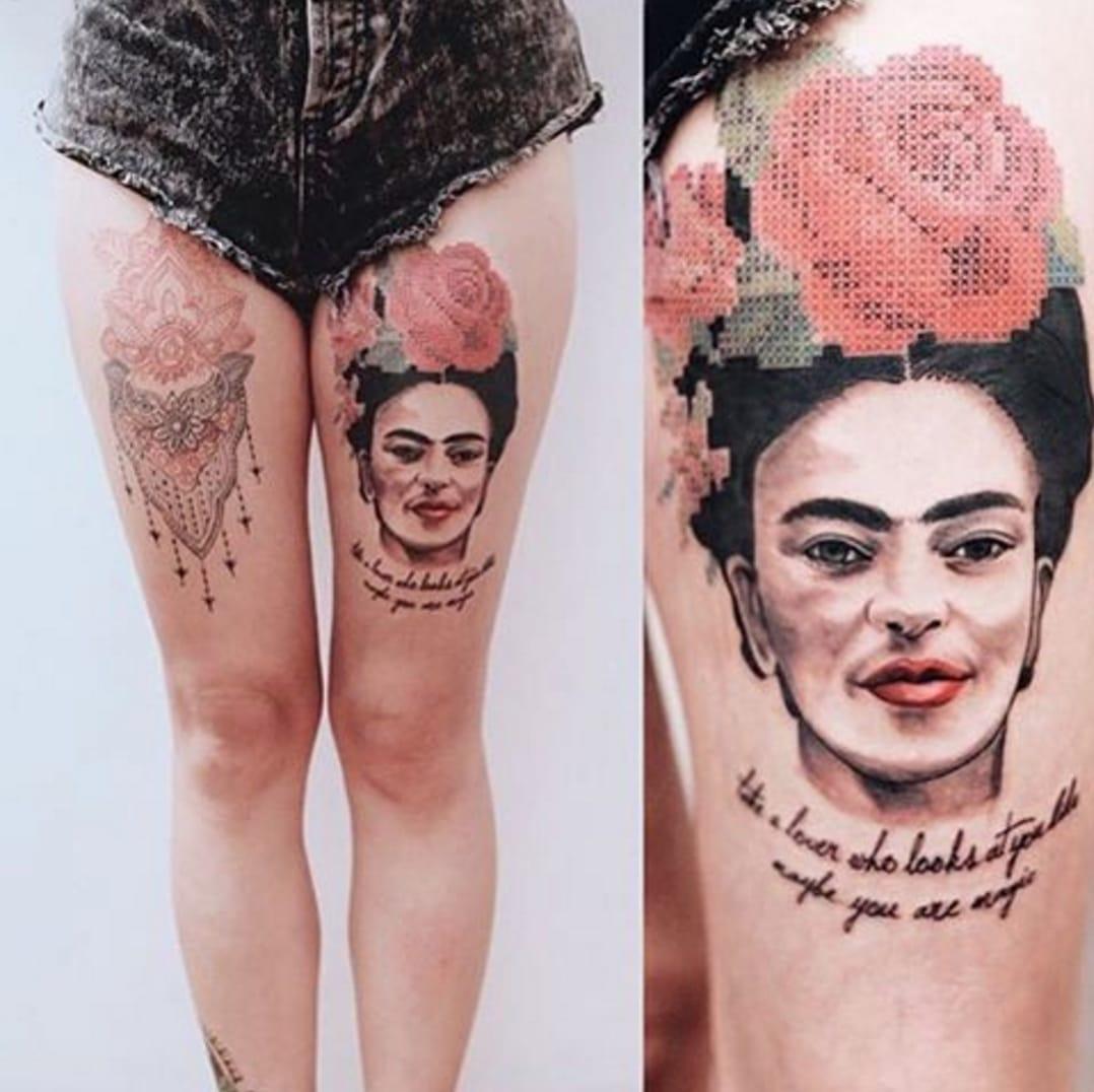Awesome Frida Kahlo portrait tattoo by Eva Krbdk, Source: Instagram / tattoomobile