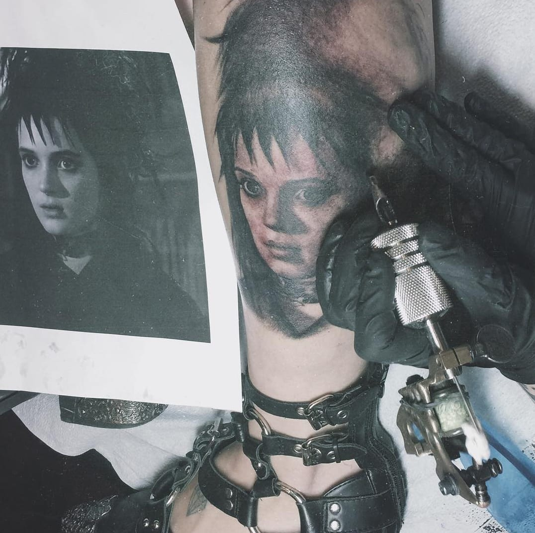 Lydia Deetz portrait tattoo by artist Kat Von D,  Source: Instagram / thekatvond