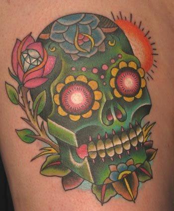 Via tattoostime.com. Artist unknown #sugarskull #skull #rose #diamond