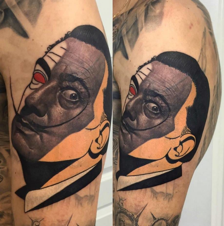 Surreal Salvador Dali tattoo /Photo from Instagram @dzikson_tattoos