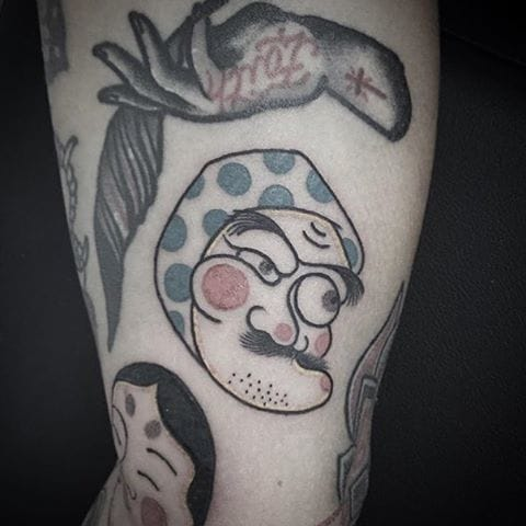 Hyottoko Tattoo by Dimitri Daleno